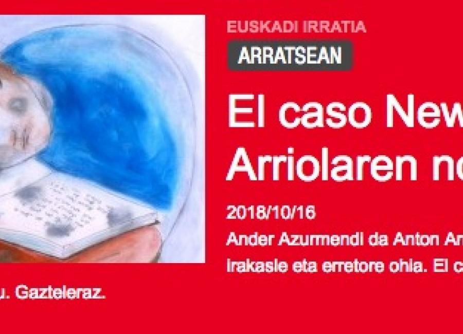 El caso Newton, Anton Arriolaren nobela beltza EUSKADI IRRATIA ARRATSEAN El caso Newton, Anton Arriolaren nobela beltza